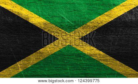 Flag of Jamaica, Jamaican Flag painted on wood
