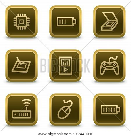 Electronics Web Icons  Square Brown Buttons