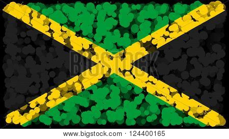 Flag of Jamaica, Jamaican Flag painted with brush on solid background, ink texture