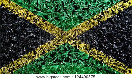 Flag of Jamaica, Jamaican Flag painted on frost