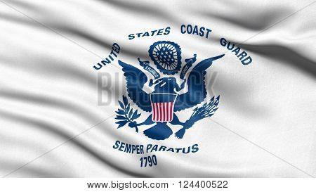 Flag of the US Coast Guard waving in the wind