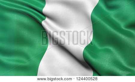 Highly detailed flag of Nigeria waving in the wind. 3d illustration.