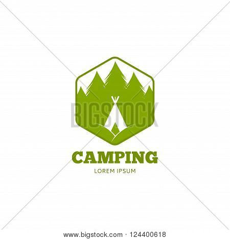 Vector template of label of camping outdoor club or hiking club.