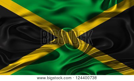 Flag of Jamaica, Jamaican Flag painted on silk material