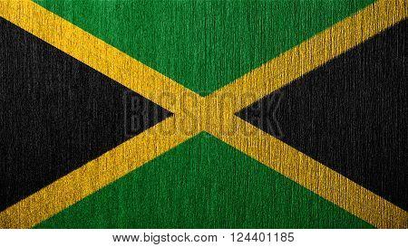 Flag of Jamaica, Jamaican Flag painted on metal texture