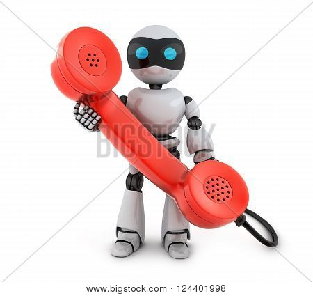 Old telephone and robot (done in 3d)