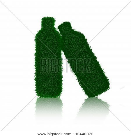 Green grass bottle's with shadows isolated