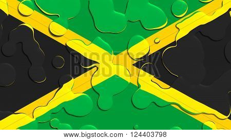 Flag of Jamaica, Jamaican Flag with water drops