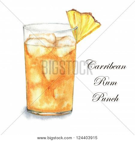 Hand drawn watercolor illustration of summer fresh cocktail Carribean Rum Punch. Isolated on the white background