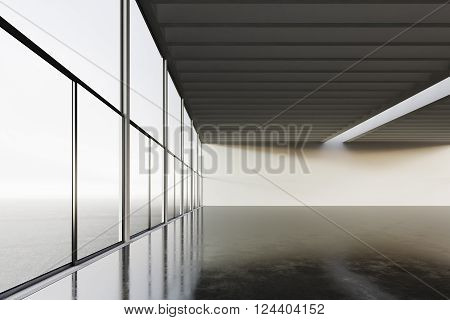 Photo of empty space room modern building.Empty interior loft style with concrete floor, panoramic windows.Abstract background. Ready for your business information.Horizontal mockup. 3D rendering