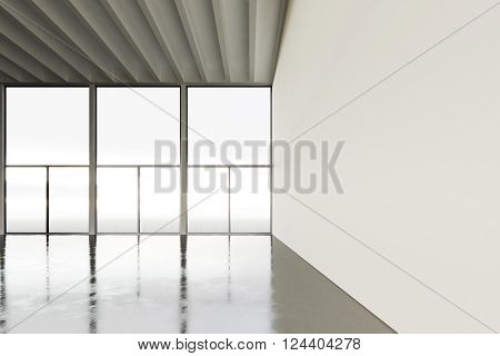 Picture of huge expo hangar in modern building. Expo interior loft style with concrete floor, panoramic windows.Abstract background, blank walls. Ready for business info.Horizontal mockup. 3D rendering