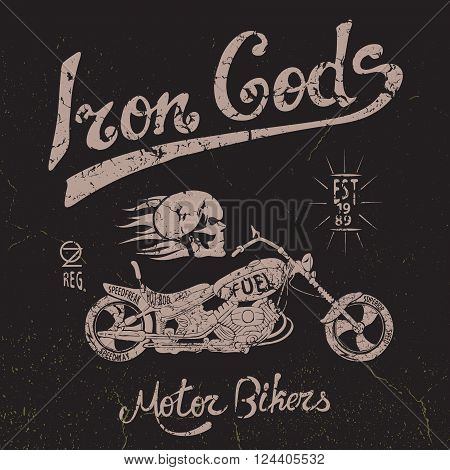 Vintage label with skull and motorcycle .Grunge effect.Typography design for t-shirts
