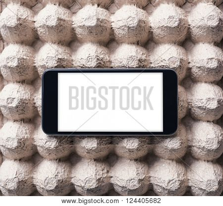 Black smart phone with isolated screen. Clipping path included.