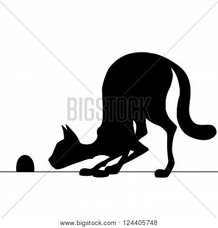 Silhouette cat watching a mouse hole waiting for mouse. Vector illustration.