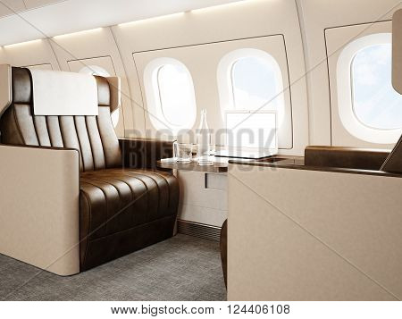 Photo interior of luxury private jet. Empty leather chair, modern generic design laptop table. Blank white screen ready for your business information. Horizontal mockup. 3D rendering