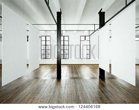 Photo of expo interior in modern building. Open space loft. Empty white canvas hanging. Wood floor, bricks wall, panoramic windows. Blank frames ready for bussiness information.Horizontal.3D rendering