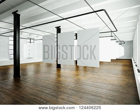 Photo of loft interior in modern building. Open space studio. Empty white canvas hanging. Wood floor, bricks wall, panoramic windows. Blank frames ready for bussiness information.Horizontal.3D rendering