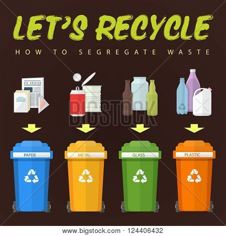 Let's Recycle Waste Concept Illustration.