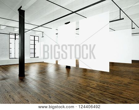 Loft expo interior in modern building.Open space studio.Empty white canvas hanging.Wood floor, bricks wall, panoramic windows.Blank frames ready for bussiness information.Horizontal. 3D rendering