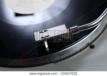 Vintage record player with vinyl record