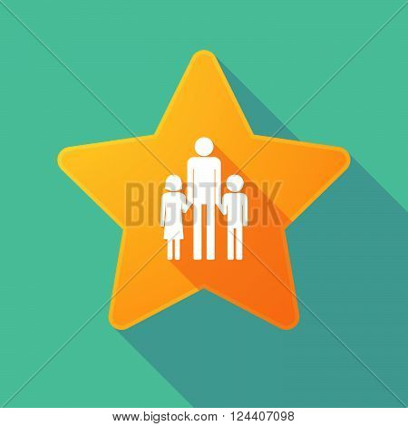 Long Shadow Star With A Male Single Parent Family Pictogram