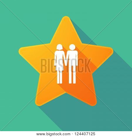 Long Shadow Star With A Heterosexual Couple Pictogram