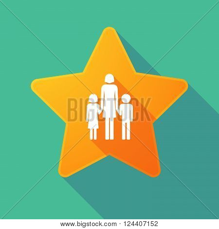 Long Shadow Star With A Female Single Parent Family Pictogram