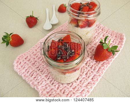 Overnight Oats with strawberries and cocoa nibs