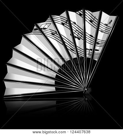 dark background and the white fan with notes