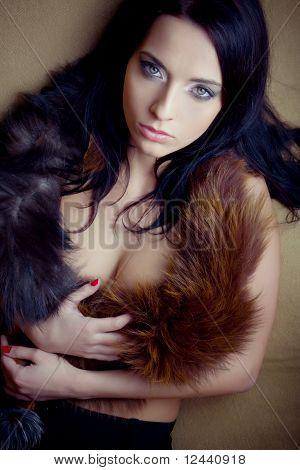 Lust attraktive Glamour Girl mit Boa