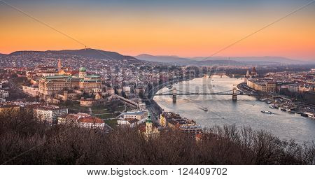 Panoramic View of Budapest and the Danube River as Seen from Gellert Hill Lookout Point