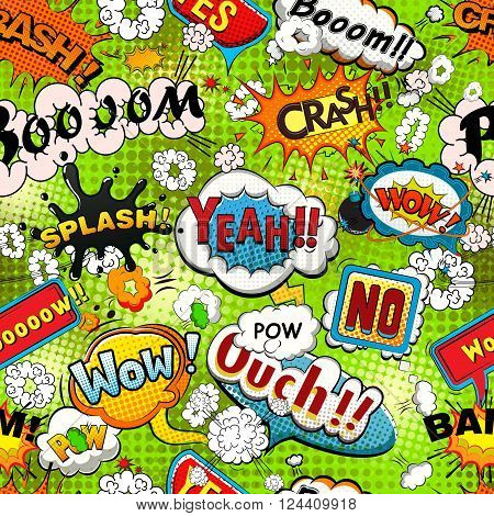 Bright comics speech bubbles on a green background seamless pattern vector