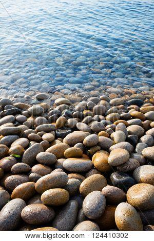 Large round stones on the seashore