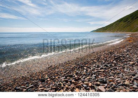 Unmanned seashore Sea of Japan. Far East Russia.