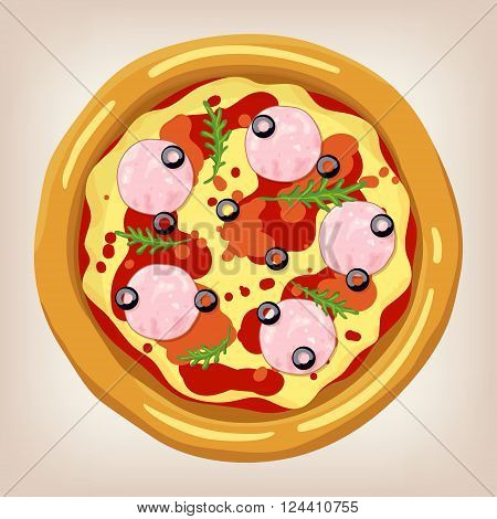 Ham and Arugula pizza vector illustration. Pizza set. Cartoon style icon. Restaurant menu illustration.