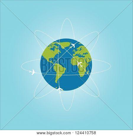Earth with aircrafts ways Data source: NASA