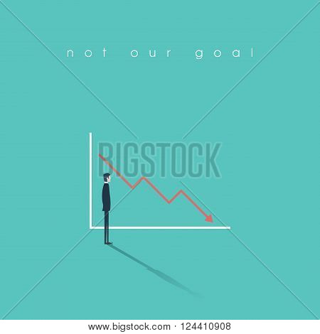 Businessman looking at a graph with sales or profit fall. Negative trend, symbol of failure, bankruptcy. Business concept illustration. Eps10 vector illustration.