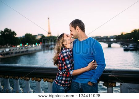 dream honeymoon in night Paris, romantic couple