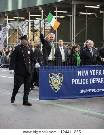 NEW YORK, NY, USA - MAR 17: Mayor Bill de Blasio at St. Patrick's Day Parade along 5th Avenue on March 17, 2016 in New York City, United States.