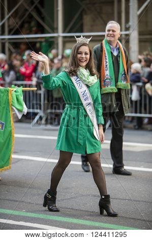 NEW YORK, NY, USA - MAR 17: Miss New York at the St. Patrick's Day Parade along 5th Avenue on March 17, 2016 in New York City, United States