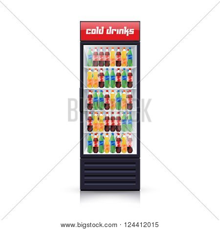 Fridge dispenser cooling machine selling best cola refreshments drinks single object icon realistic vector Illustration