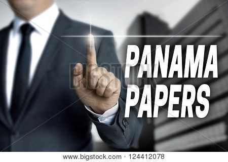 Panama papers touchscreen is operated by businessman