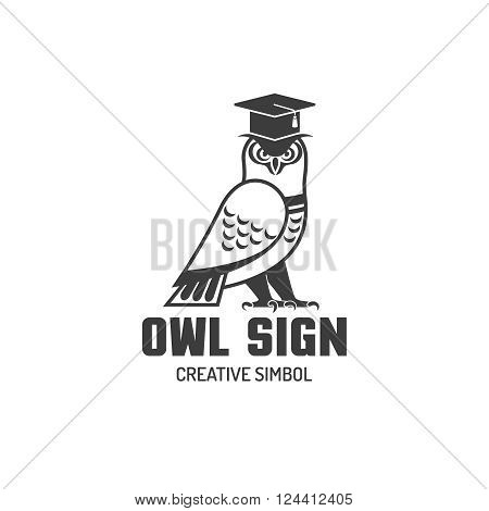 Black and white logotype sign of owl in square academic cap creative simbol flat vector illustration