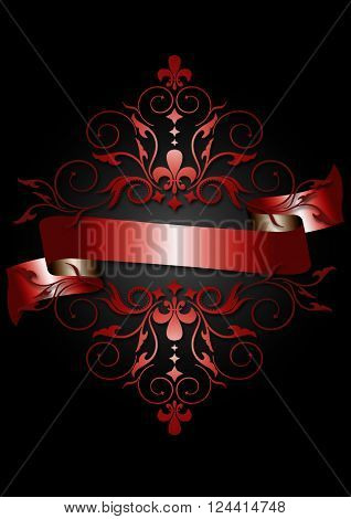 Card with shiny red ribbon,red pattern,scrolling and heraldry on black background