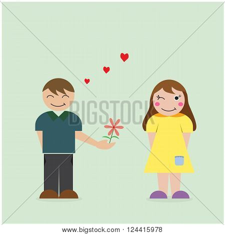 Boy give flower to girl courtship and love concept. Vector illustration.