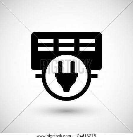 Electric heater icon isolated on grey. Vector illustration