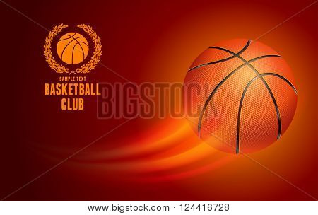 Horizontal Card for Basketball Club with Flying Basketball Ball on Red Background. Realistic Editable Vector Illustration.