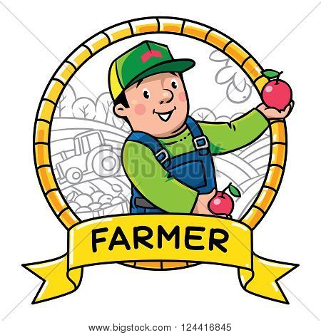 Children vector illustration or emblem of funny farmer or gardener in overall and baseball cap with apples in his hands in round frame with cartouche. Profession ABC series.