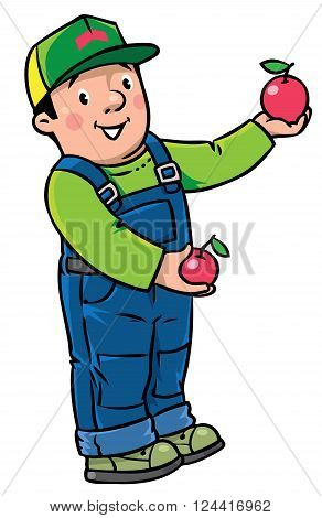 Children vector illustration of funny farmer or gardener in overall and baseball cap with apples in his hands. Profession series.
