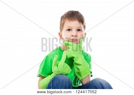 Ponderer small boy with Hand on the Face. Isolated on white background
